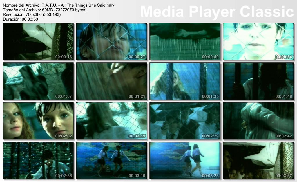 General Complete name : T.A.T.U. - All The Things She Said.mkv Format