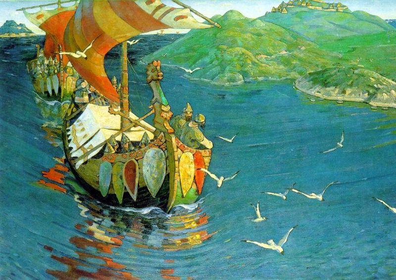 Arrivee des Vikings Varangues en Russie, peinture de Nikolai Roerich, 1899