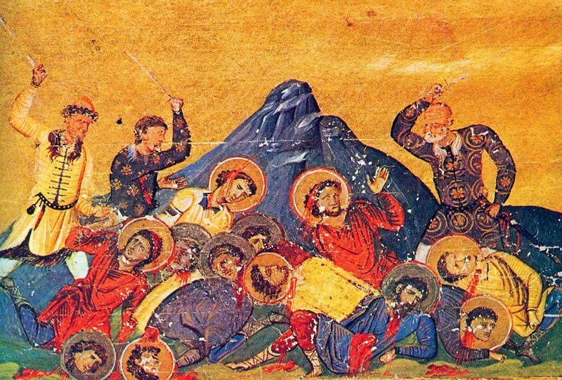 menologue de Basile II, miniature, le massacre des Chretiens par les Bulgares