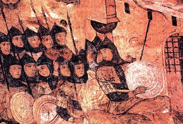 guerre de 860, soldats Rus sous les murailles de Constantinople, detail d'une enluminure medievale