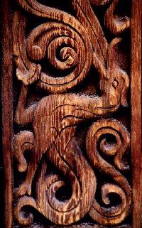 bloc de serrurerie d'une antique eglise norvegienne en bois debout ou stavkirker