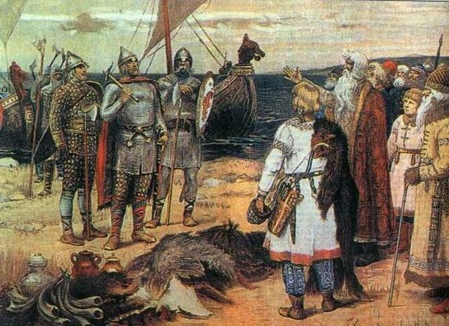 Rurik et ses freres arrivent a Lagoda, peinture de Vasnetsov, 1933