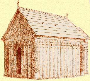 reconstitution d'eglise en bois des missionnaires Anglais en Scandinavie au 10 et 11eme siecle