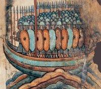 vikings sur leur barque, prets a l'assaut, miniature medievale