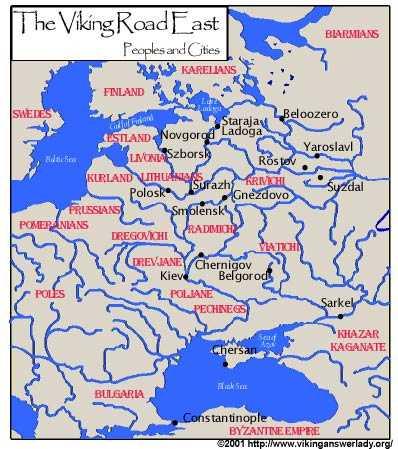 route de l'Orient des Vikings Varangues partant de Suede jusque Constantinople