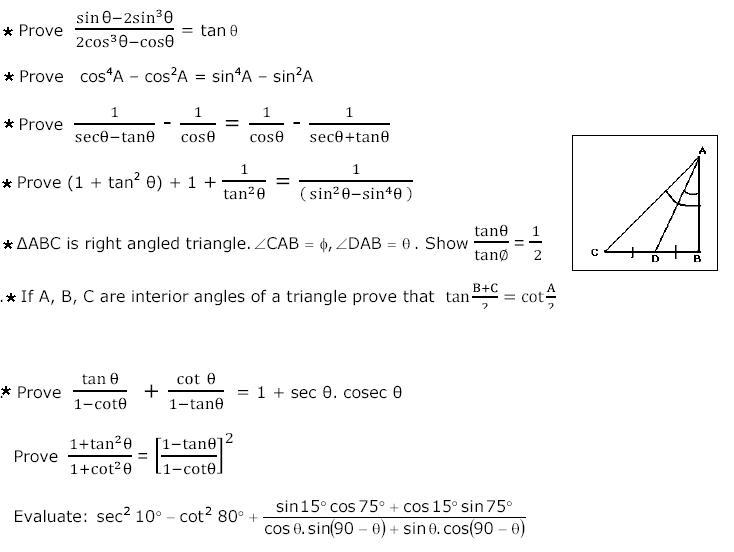 Sample ICSE Maths Trigonometry Questions free