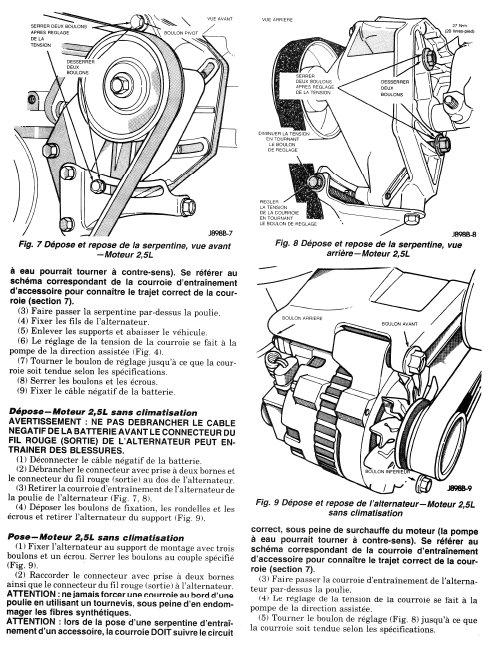 Jeep Wrangler TJ 2,4 L Plat Courroies crantées Courroies trapézoïdales avec climat 03-05
