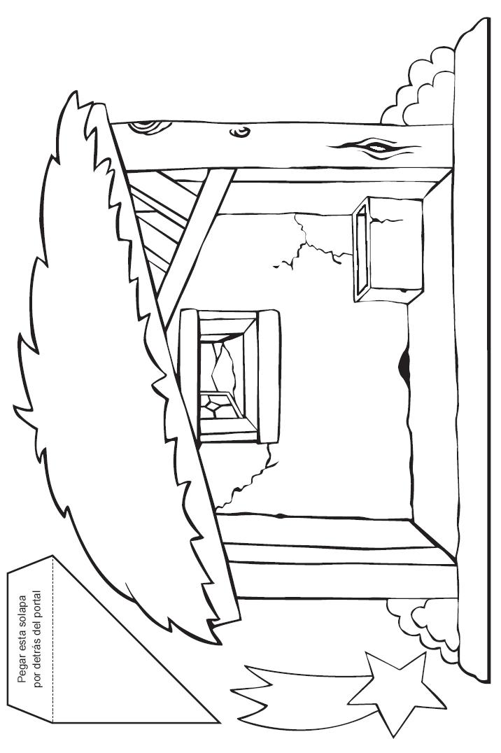 Portal para colorear recortar y montar - Dibujos de belenes ...