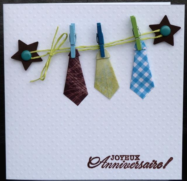 de l 39 origami une guirlande de cravates une carte d 39 anniversaire les 2 mains gauches. Black Bedroom Furniture Sets. Home Design Ideas