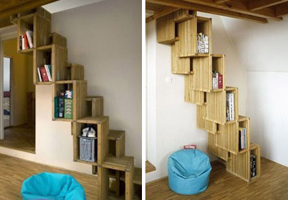 faire un escalier biblioth que. Black Bedroom Furniture Sets. Home Design Ideas