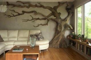 arbre a chat avec tronc d'arbre