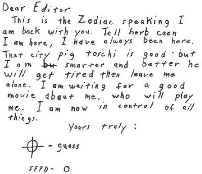 fake or real zodiac letters april may july 1978 1986 1987