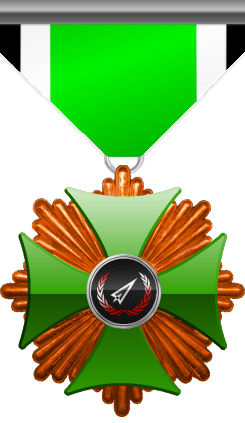 Bronze level of Green Cross of the Silver Arrows - Given to a member who performed a number of contributions to the clan in the form of equipment or money donated and knowledge shared. Bronze level is the first of six.