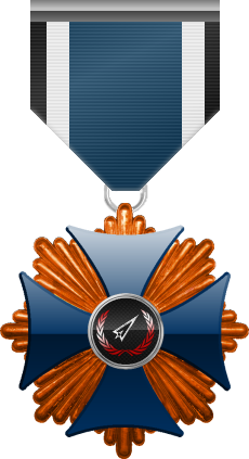 Bronze level of the Blue Cross of the Silver Arrows - This award is given to a member who participated in a number of assignments in friendly territory. Bronze level is the first of six.
