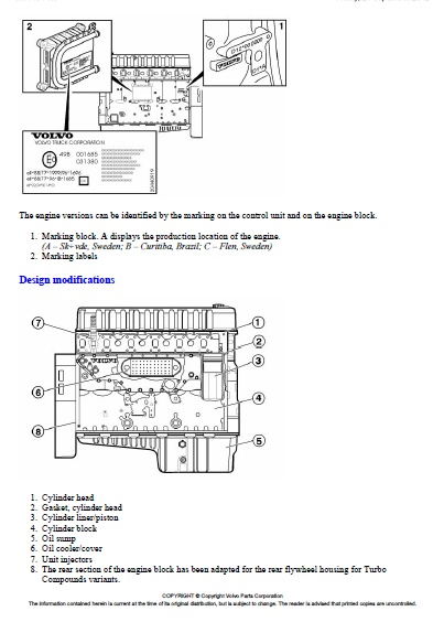Volvo Fm12  D12d420 New Engine Variants -sensor