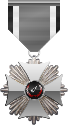 Platinum level of Silver Cross of the Silver Arrows - This award is given to a member who distinguished in a number of Community Events. Platinum level is the fourth of six.